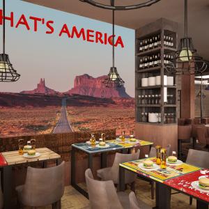 arizona-66-garage-progettazione-american-bar-carta-da-parati-deserto-strada-that-s-america-divani-chester-hamburger-birra