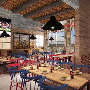arizona-66-garage-progettazione-american-bar-carta-da-parati-lamiera-sedie-rosso-blu-bianco-usa-legno-hamburger-coca-cola