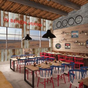 arizona-66-garage-progettazione-american-bar-carta-da-parati-lamiera-sedie-rosso-blu-bianco-usa-legno-hamburger-coca-cola-legno