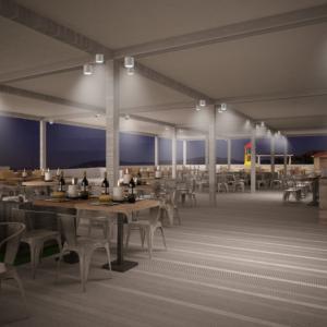 cento-nove-officine-lamezia-terme-progettazione-locali-render-ristorazione-outdoor-design-industrial-pergolato-notte-candele