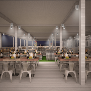 cento-nove-officine-lamezia-terme-progettazione-locali-render-ristorazione-outdoor-design-industrial-pergolato-notte-colonne