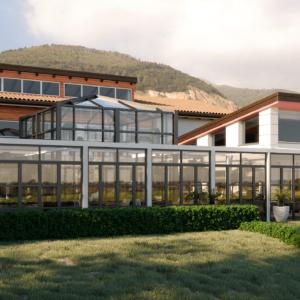 eupili-cafe-progettazione-locali-render-giorno-esterno-cupola-vetro-facciata