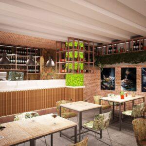 saba-modena-progettazione-locali-render-ristorazione-interior-design-banco-bar-wallpaper-corten-piante