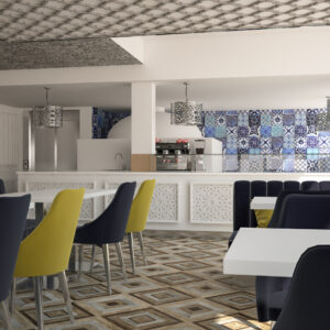 vivo-el-jadida-progettazione-locali-render-3d-ristorazione-interior-design-oro-blu-giallo-piastrelle-marocco-italian-food