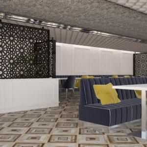 vivo-el-jadida-progettazione-locali-render-3d-ristorazione-interior-design-oro-blu-giallo-wallpaper-marocco-italian-food